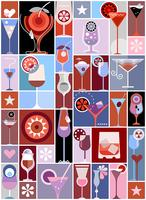 Cocktails pop art vector collage
