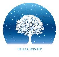 Cercle fond hiver avec un arbre recouvert de neige et un espace de texte.