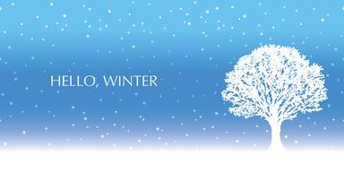 Sömlös vinter bakgrund med ett snötäckt träd och text utrymme.