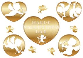 Set of 3D relief cupid icons for  Valentine's Day.