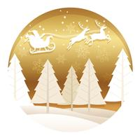 Christmas round illustration with forest, Santa Claus, and reindeer. vector