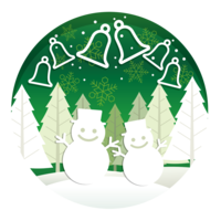 Christmas round illustration with forest, snowmen, and bells.