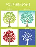 Set of four tree illustrations in four seasons.
