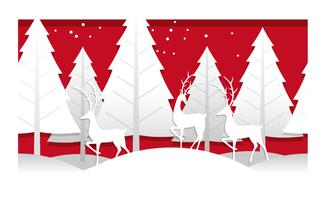 Christmas illustration with winter forest and reindeer.