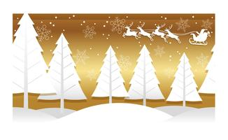 Christmas illustration with winter forest, reindeer, and Santa Claus.