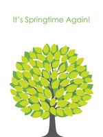 Springtime tree vector illustration with text space.