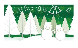 Julillustration med vinterskog, snögubbar och klockor.