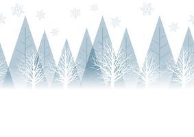 Seamless vinter skog bakgrund med text utrymme, vektor illustration.
