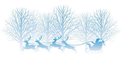 Julillustration med skog, jultomte och ren.