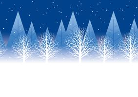 Seamless winter forest background at night with text space, vector illustration.