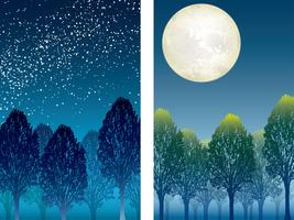 Set of two forest at night vector illustrations.