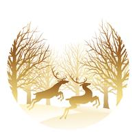 Christmas round illustration with forest and reindeer. vector