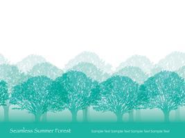 Sömlös skog i sommarfärger med textutrymme.