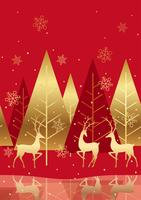 Seamless winter forest background with reindeer.