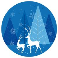 Winter forest circle background with reindeers.