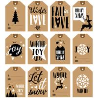 Gift tags collection. Christmas and New Year gift tags vector