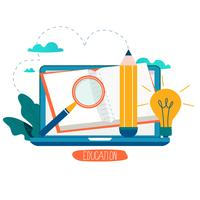 Utbildning, online kurser, distansutbildning vektor illustration
