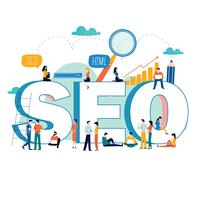 SEO, search engine optimization, keyword research, market research flat vector illustration