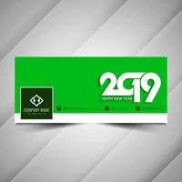 New Year 2019 stylish social media banner template