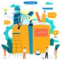 Istruzione, corsi di formazione online, illustrazione vettoriale piatta educazione a distanza