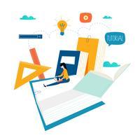Educación, cursos de capacitación en línea, ilustración vectorial educación a distancia