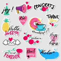 Collection of flat design social network stickers