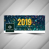 New Year 2019 stylish social media banner design