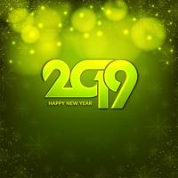 Abstract Happy new year 2019 green background vector