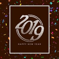 Abstract Happy new year 2019 celebration background vector