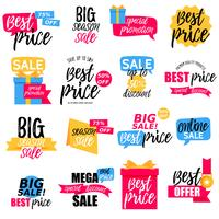 Colorful sale stickers collection