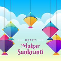 Colorful Kite To Celebrate Makar Sankranti Greeting Card Background
