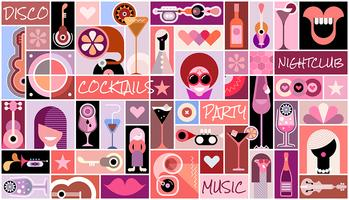 Disco Party collage de arte pop