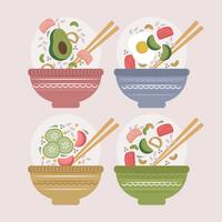 Vector Colourful Poke Bowls