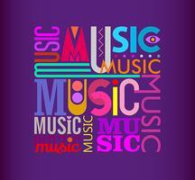 Music text design on a dark violet
