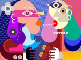Um homem e uma mulher ilustração vetorial