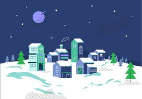 Winter Village Background At Night Vector Illustration
