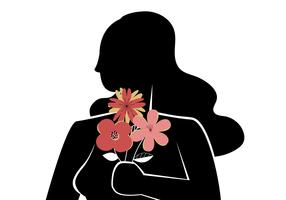 Silhouette Girl With Flower Bouquet