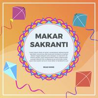 Flat Makar Sankranti Vector Background Illustration