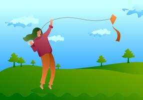 Beautiful People Flying A Kite Vectors