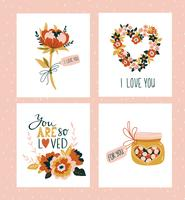 Vector illustration. Valentines day greeting cards templates with love lettering.