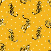 Vector seamless pattern with tigers and triangles isolated on the white background. Animal fabric design.