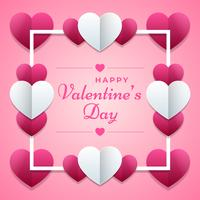 Valentines Day Pink Poster With Hearts Ornament Background