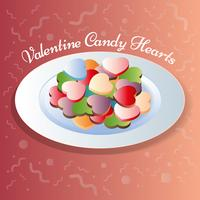 Heart Shapes Sweet Candy On Plate Illustration