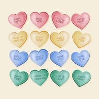 Vector Hand Drawn Valentine Candy Hearts