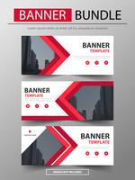 Red corporate business banner mall set