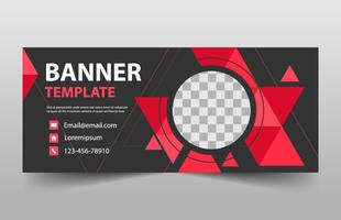 Red Abstract triangle corporate business banner template,