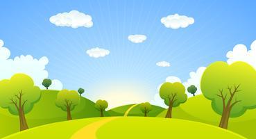 Primavera o estate paesaggio dei cartoni animati