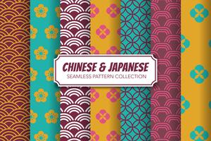 Chinese and Japanese Seamless Pattern Set. Vector illustration