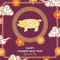 Flaches chinesisches neues Jahr der Vektor-Hintergrund-Illustration des Schweins 2019