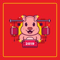 Vecteur de cochon nouvel an chinois